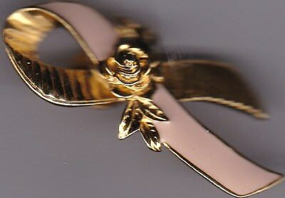 Pink enamel and Gold-Tone Brooch/ Pin  Avon Breast Cancer Ribbon and ROSE