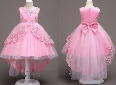 US STOCK ! Flower Girl Dress Princess Formal Graduation Bridesmaid Gown B2