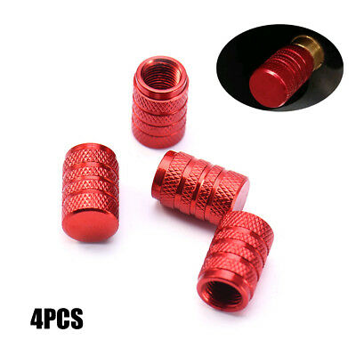 4 Pcs Car Truck Bike Red Wheel Tyre Tire Valve Stems Air Dust Cover Screw Caps
