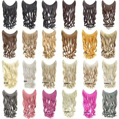 24 Inch Wavy Hidden Halo Invisible Wire Hair Extensions Secret Miracle Hairpiece