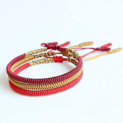 Handmade Tibetan Buddhist Braided Bracelet Lucky Knot Rope Men Women Multi Color