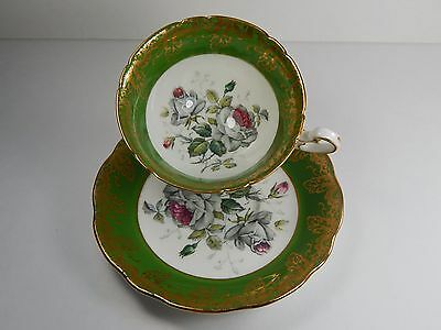 Foley WHITE ROSE tea cup and saucer. Not a Paragon. Ornate Gold Gilt.