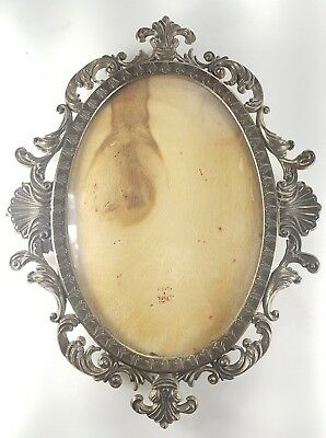 """Vintage Picture Brass Frame with Convex Glass 9""""3/4 Long  7""""1/4 wide"""