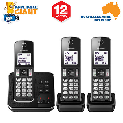 Panasonic KX-TGD323ALB Triple Cordless Phone System with Answering Machine - NEW