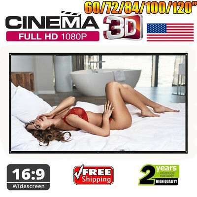 """100"""" 16:9 1080P 3D 4K Hanging Projector Screen Home Outdoor Movie Cinema Theater"""