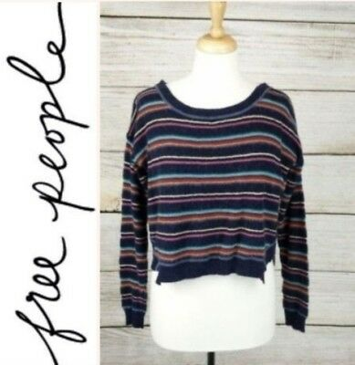 8d77631ca8 Free People FP Beach Women Long Sleeve Sweater Navy Multi Color Stripe Crop  Sz M
