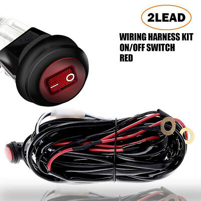 12V 40A LED Work Light Bar CREE Wiring Harness Kit ON/OFF Rocker Switch Relay