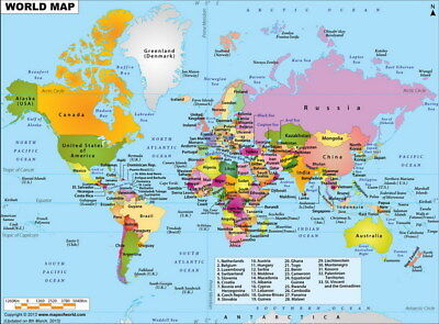 "035 World Map - National Geographic Retro Map of the World 18""x14"" Poster"