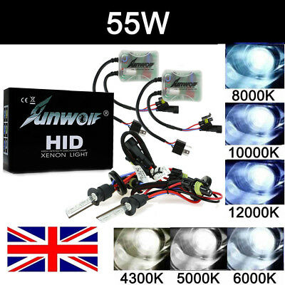 55W H7 H1 H4 HID Xenon Conversion Kit Bi-Xenon Hi/Lo Headlight Ballast Head Lamp