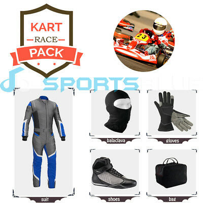 Go Kart Race suit (includes Suit, Gloves,Balaclava & Shoes)free bag- blue/grey