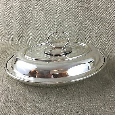 Antique Silver Plate Entree Dish Serving Bowl Oval Covered Lidded Bowl
