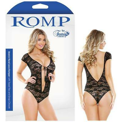 Romp Stretch Floral Lace Romper With Tassel Ties & Snap Closure- Adult Linger...