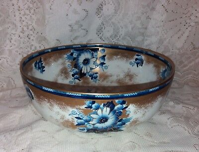 Keeling & Co Losol Ware Blue & Gold Marguerite Pattern Large Bowl Art Nouveau