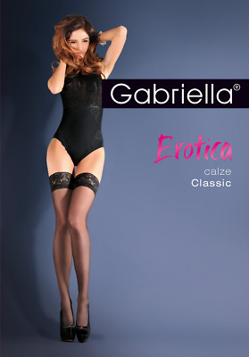 GABRIELLA Calze Classic Luxury Super Fine Sheer Lace Top Hold Ups With Lycra