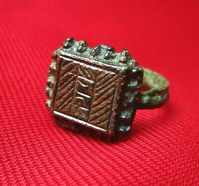 Ancient Roman bronze engraved ring . Initials engraved . III century AD.