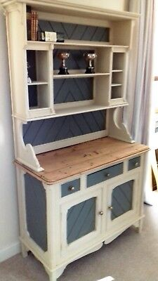 Antique Painted pine dresser bookcase, vintage upcycled shabby chic