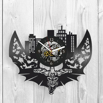 Dark Knight Art Vinyl Record Wall Clock vintage Batman gift idea For Boys Kids