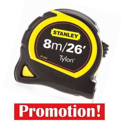 Stanley Pocket Tylon Tape, 8 m/26 feet (25 mm) - Yellow and Black, Bi-material