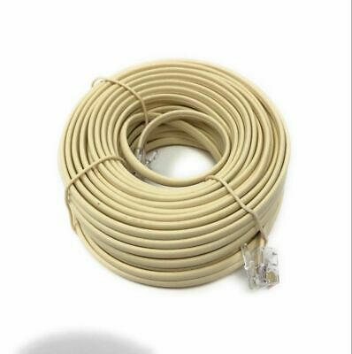 50FT feet RJ11 6P4C Modular Telephone Extension Cable Phone Cord Line Wire Beige