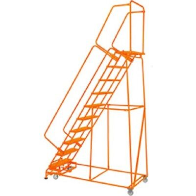 "NEW! Perforated 24""W 10 Step Steel Rolling Ladder 14""D Top Step W/Handrails!!"