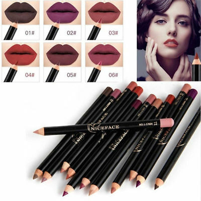 12 Colors Waterproof Pencil Lipstick Pen Matte Lip Liner Long Lasting Makeup