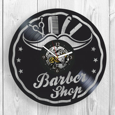 Barber Shop Vinyl Record Wall Clock Modern Barbershop Birthday gift idea For Her