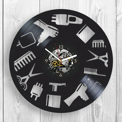 Vinyl Record Wall Clock Barbershop Birthday gift idea For Her Barber Shop Modern