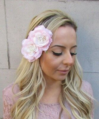 Double Blush Light Pink Cream Rose Flower Hair Clip Fascinator Bridesmaid 5589