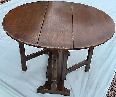 SOLID Oak Gateleg Occasional Coffee Table Lamp Stand : Antique Georgian Style