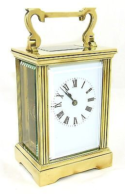 French Brass Carriage Clock with Bevelled Glass & Winding Key WORKING