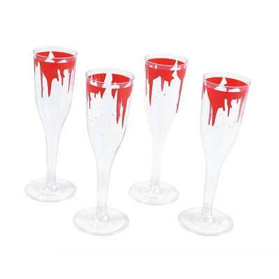 Bloody Champagne Wine Flutes x 4 Halloween Drink Party Accessory