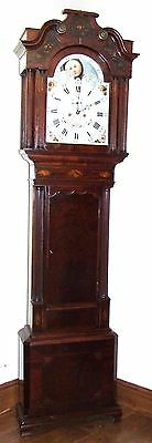 Antique Mahogany Rolling Moon Longcase Grandfather Clock : GEORGE MONKS PRESCOT