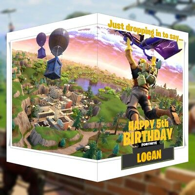 Fortnite Birthday Card PERSONALISED Battle Royale Any NAME AGE or RELATION 14x21