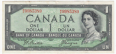 1954 Bank of Canada $1 Devil's Face Banknote - S/N: M/A9985389