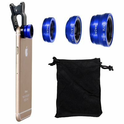3In 1 Camera Lens Fish Eye Wide Angle Macro Kit Blue For iPhone Samsung Location
