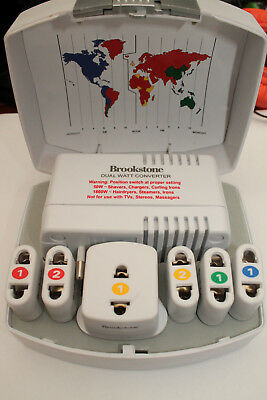 Brookstone Dual Watt Global 7 Piece Converter Kit with Adapter Plugs - Good Used