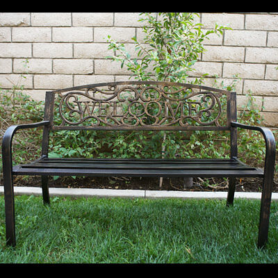 50inch Outdoor Patio Bench Furniture Seat Porch Deck Garden Yard