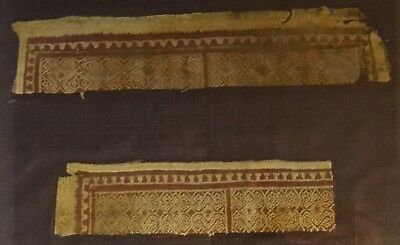 2 Ancient Coptic Woven Textiles.3rd to 5th c. A.C.E. Maroon/red/gold.