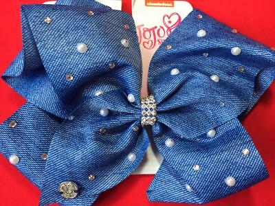 JOJO SIWA Large Cheer Signature Blue Denim Bow with Pearls & Diamond Rhinestones