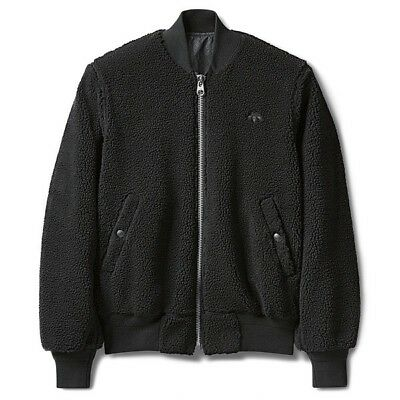 "Adidas Alexander Wang Reversible Sherpa Packaging Paper"" Bomber Jacket Black XXS"
