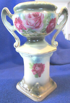 "Antique Austrian 6 1/2"" Height Handpainted Porcelain Urn Vase Featuring Roses"