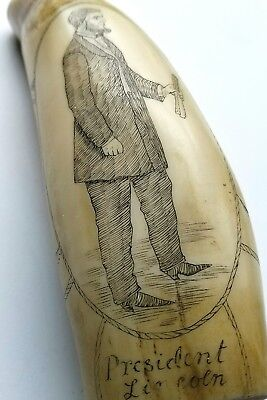 Vintage Scrimshaw Faux Resin Carved Sperm Whale Tooth Lincoln Southern Star