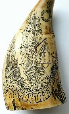 Vintage Scrimshaw Faux Resin Carved Sperm Whale  Cptn Vincent Ship 4 inches