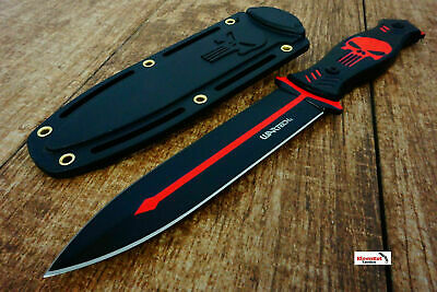 """10.25"""" Punisher Skull Tactical Black/ Red Boot Knife with Sheath Survival Fixed"""