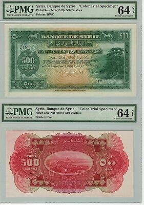 Syria 1919 500 Piastres Color Trial Specimen Unc Pmg64 No Hole Punches !