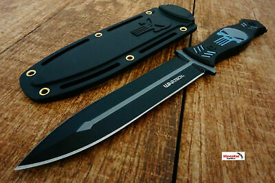 """10.25"""" Punisher Skull Tactical Black/ Gray Boot Knife with Sheath Survival Fixed"""