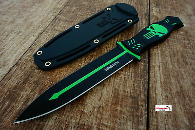 """10.25"""" Punisher Skull Tactical Black/ Green Boot Knife w/ Sheath Survival Fixed"""