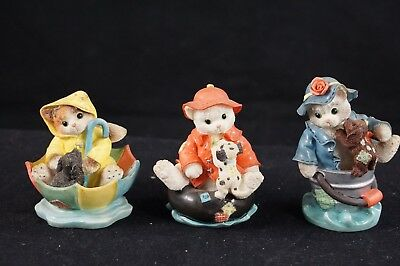 3 Priscilla Hillman 1997 Calico Kittens Different Enesco Figurines Friendship