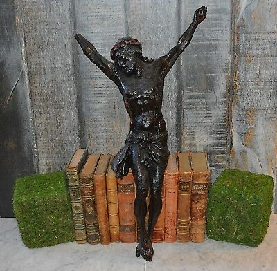 """Antique Black Forest Carved Wood Large Crucifix Statue of Jesus 24"""""""
