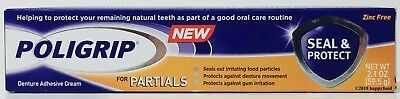 Poligrip for Partials Seal & Protect Denture Adhesive Cream 2.1 oz Zinc Free NEW